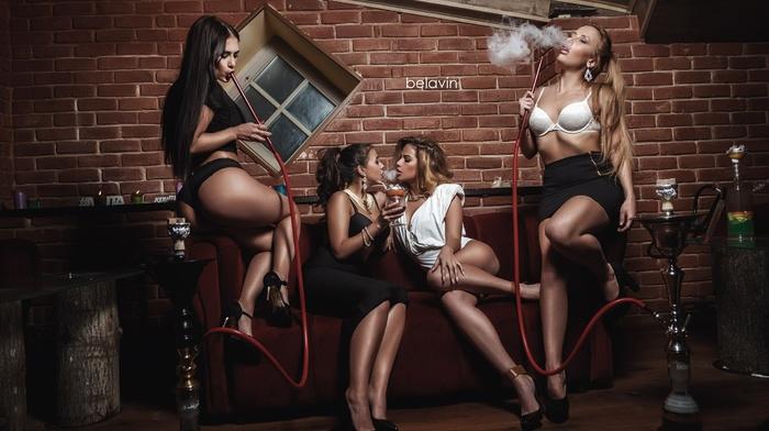 smoke, Hookah, high heels, smoking, ass, skirt, girl, couch, sitting