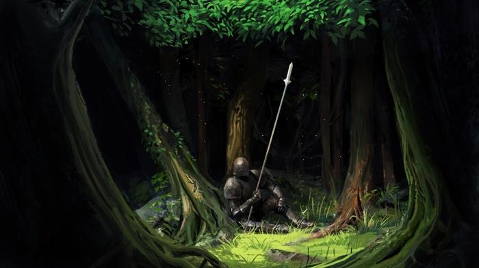 armor, trees, knight, artwork, spear, fantasy art, forest