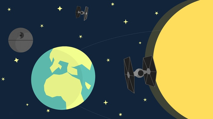 artwork, Death Star, Star Wars, minimalism, TIE Fighter, Earth