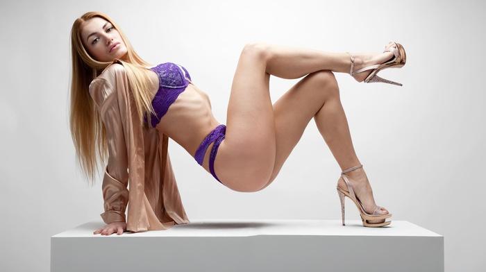 blonde, high heels, underwear, white background, girl, Rad Tirado, ass