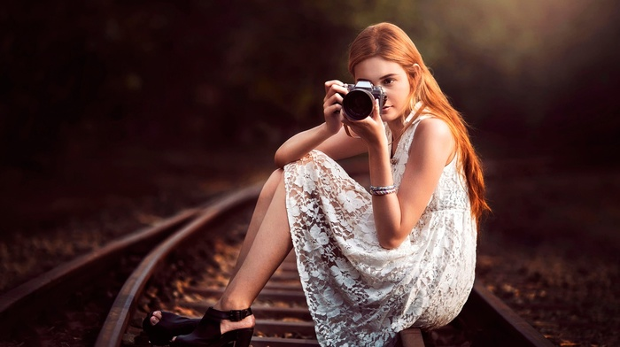 railway, camera, depth of field, girl, girl outdoors, legs, redhead, bare shoulders, high heels, sitting, see, through clothing, model, trees, white dress, long hair