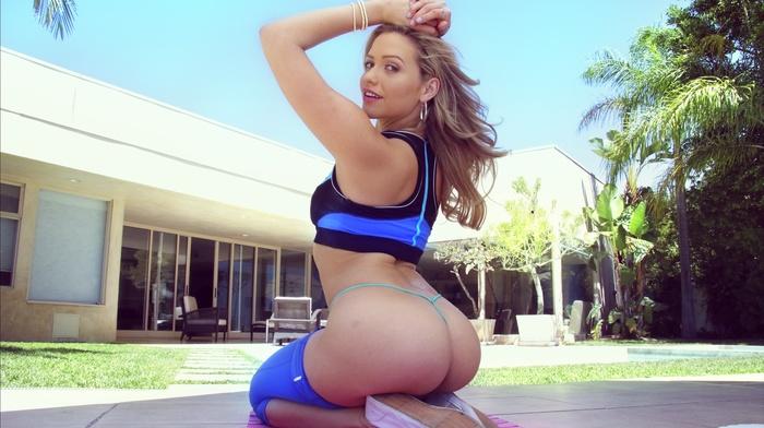 ass, house, pornstar, thong, arms up, kneeling, Mia Malkova, hands on head