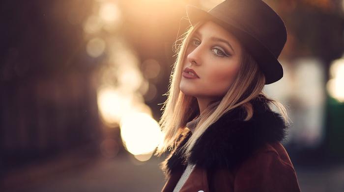 portrait, blonde, hat, girl, Furkan Gnal, face