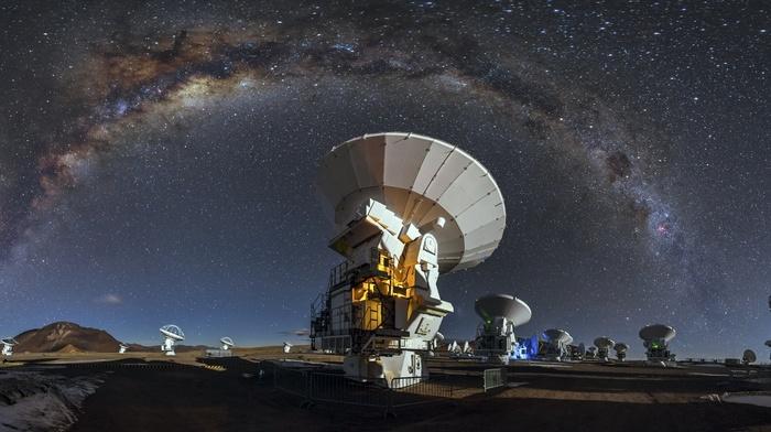 galaxy, nature, long exposure, ALMA Observatory, Atacama Desert, starry night, Chile, technology, Milky Way, landscape