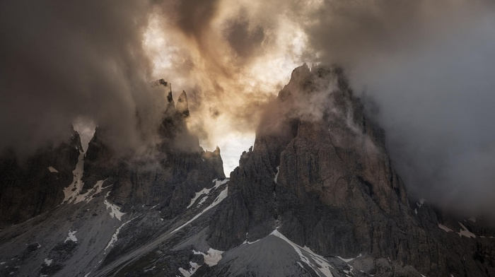 landscape, spring, Dolomites mountains, Italy, mountain, nature, sunlight, summit, clouds