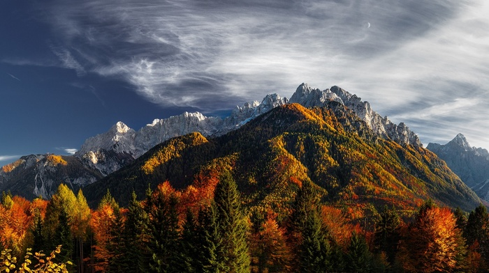 trees, fall, nature, snowy peak, clouds, Slovenia, sunlight, landscape, forest, moon, mountain, colorful