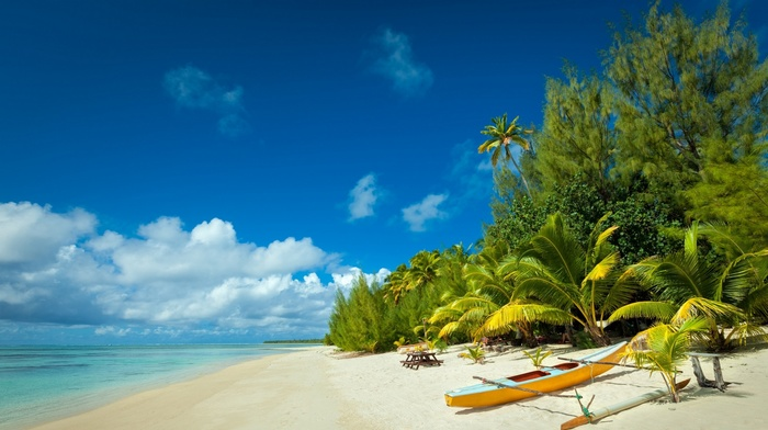sea, landscape, boat, clouds, Vacations, sand, palm trees, tropical, beach, white, nature, summer, island