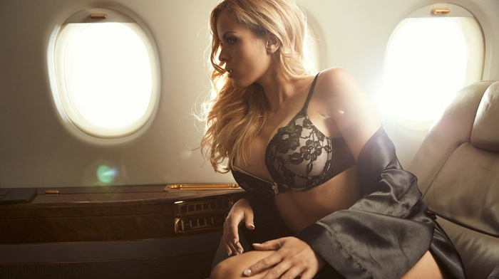 Hundertpfund, blonde, black lingerie, sitting, aircraft, girl, model