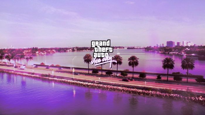 pink, Grand Theft Auto Vice City, road, lake, logo, sea, PC gaming