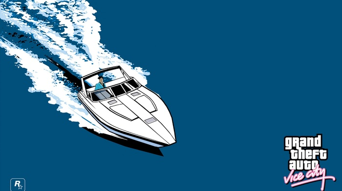 logo, boat, Grand Theft Auto Vice City, sea, Rockstar Games