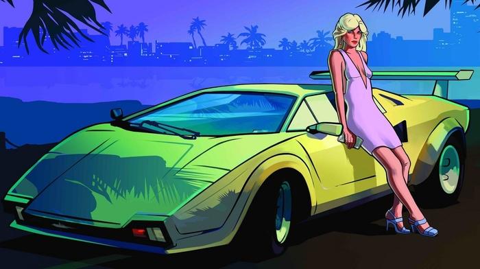 Grand Theft Auto Vice City, luxury, city, heels, girl, sports car