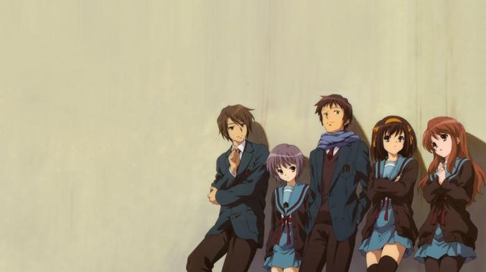 anime girls, anime boys, anime, nagato yuki, Koizumi Itsuki, school uniform, the melancholy of haruhi suzumiya, Kyon, suzumiya haruhi, Asahina Mikuru
