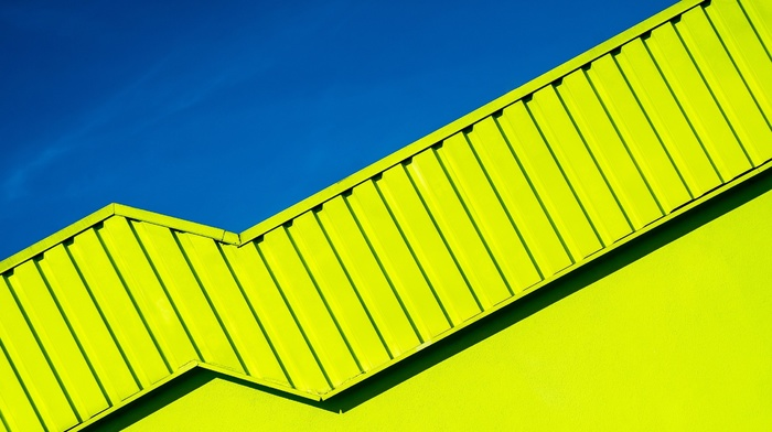 clear sky, modern, abstract, yellow, sky, architecture, shadow, blue, rooftops, minimalism