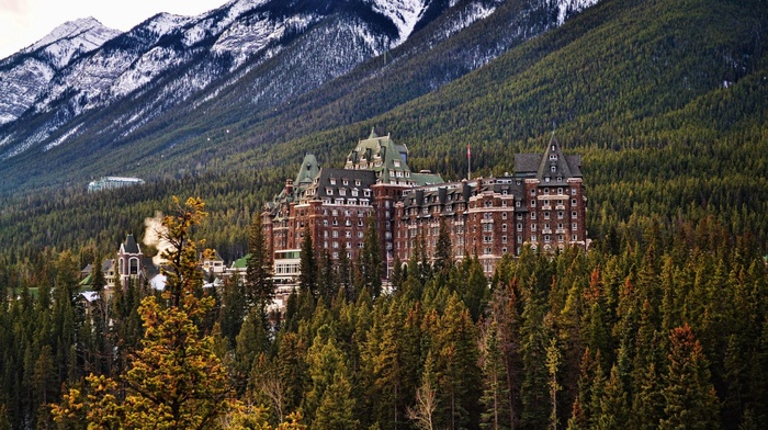 The Fairmont Banff Springs, banff national park, architecture, hill, forest, trees, Canada, building, old building, snowy peak, castle, mountain, pine trees, landscape, nature