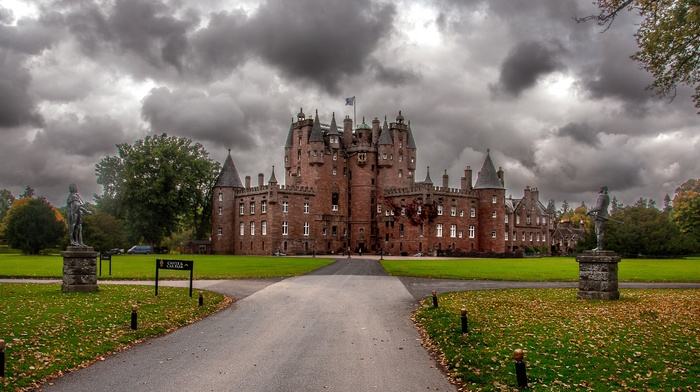 trees, leaves, UK, fall, nature, Scotland, sculpture, landscape, clouds, old building, park, architecture, Glamis Castle, grass, tower, castle, building, road
