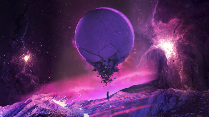 space, planet, purple, pink, fantasy art, universe, stars
