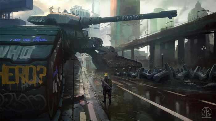 graffiti, concept art, tank, weapon, artwork, futuristic, science fiction, city