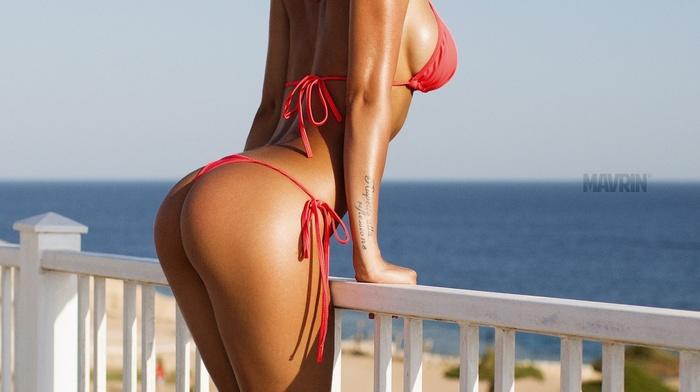 bikini, ass, boobs, Aleksandr Mavrin, sideboob, balconies, girl, model