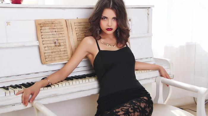 classy, brunette, dress, piano, girl, white, black