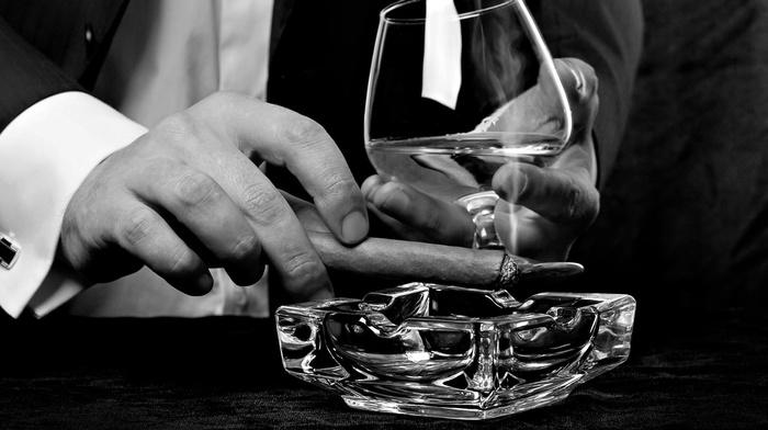 monochrome, classy, alcohol, cigars