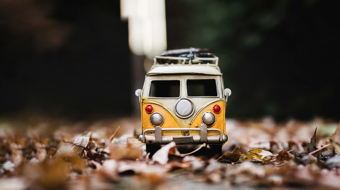 leaves, macro, toys, vw bus