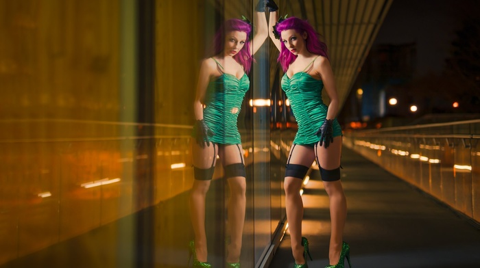 glass, model, Poison Ivy, garter belt, dress, reflection, dyed hair, night, portrait, girl, cosplay, high heels, pantyhose, Kyle Cong