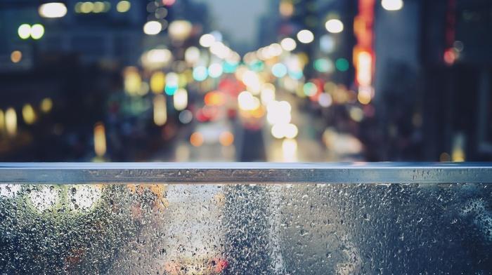 porch swing, cars, street light, window, street, rain, balconies