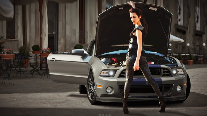 luxury, girl with cars, girl, wheels, fast cars, Shelby GT500 Super Snake, car
