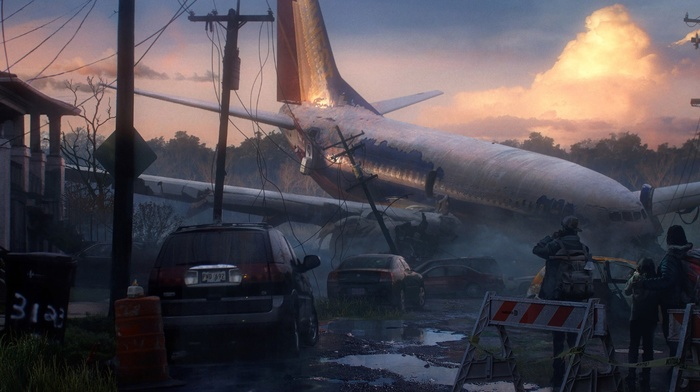 drawing, aircraft, apocalyptic, artwork, crash