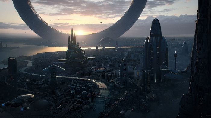 sunrise, science fiction, future city