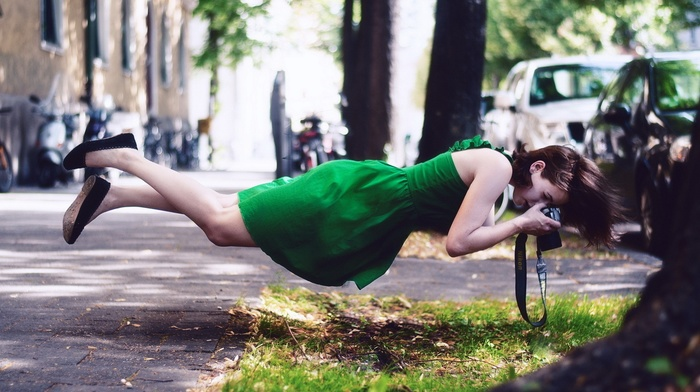 flying, long hair, grass, depth of field, brunette, floating, bare shoulders, trees, shadow, Nikon, road, green dress, girl outdoors, camera, model, magic, street, photographers, girl, dress, car