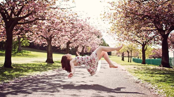 park, long hair, dress, girl outdoors, road, open mouth, closed eyes, blossoms, grass, barefoot, model, girl, flying, shadow, trees, brunette, magic, Asian, floating, cherry blossom, bare shoulders