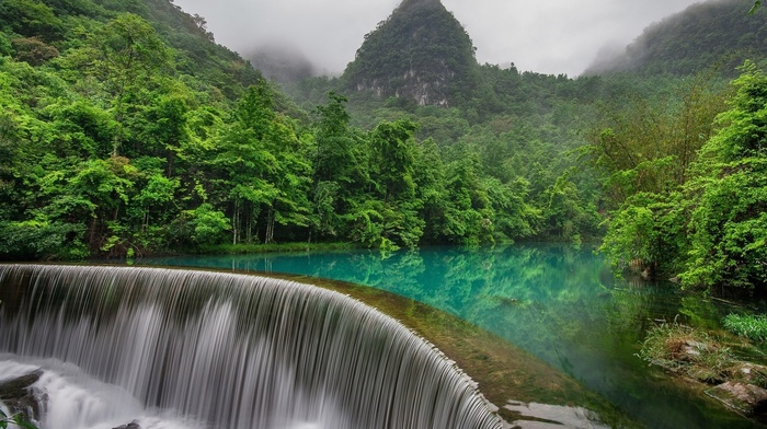 long exposure, mist, landscape, reflection, forest, lake, China, waterfall, stones, mountain, jungles, trees, nature