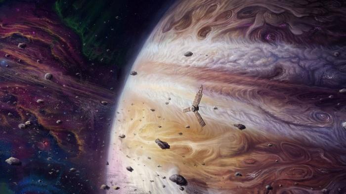 space, asteroid, meteors, spaceship, universe, digital art, planet