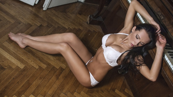 Jan Hubnk, closed eyes, pierced navel, brunette, wooden surface, sitting, on the floor, model, flat belly, armpits, girl, arms up, white lingerie