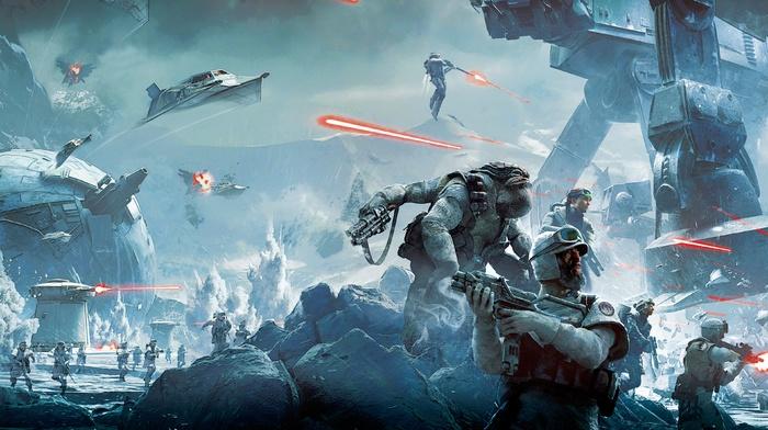 Star Wars Battlefront, Hoth, battle, video games, soldier, Star Wars
