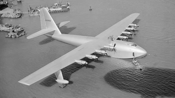 aerial view, aircraft, monochrome, Hughes HK, 1 Hercules, airplane