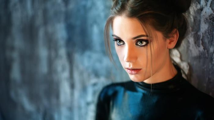 face, eyes, long hair, blurred, model, Xenia Kokoreva, fahrbar, girl, brunette