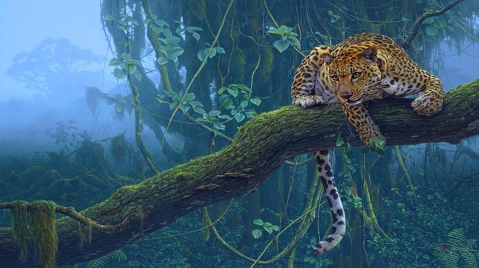 tiger, animals, branch, trees, Daniel Smith