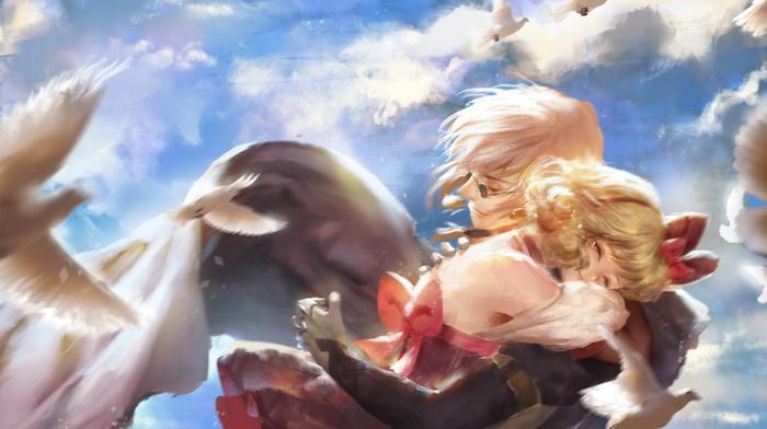 birds, glasses, clouds, hugging