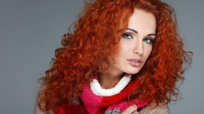 redhead, curly hair, long hair, portrait, looking at viewer, model, face, sweater, girl, scarf, open mouth, makeup, simple background