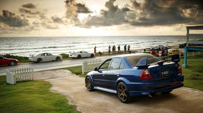 Mitsubishi Lancer, JDM, beach, car, Speedhunters, evo, tuning