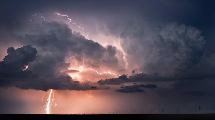 landscape, horizon, lightning, clouds, nature, storm