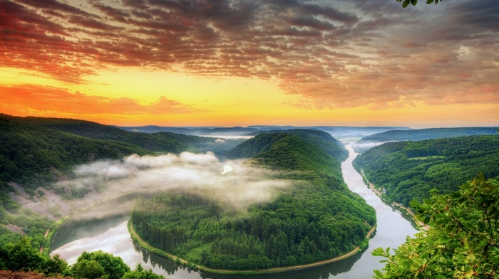 river, clouds, pine trees, hill, landscape, sunset, Saarschleife, nature, Germany, leaves, trees, forest, mist