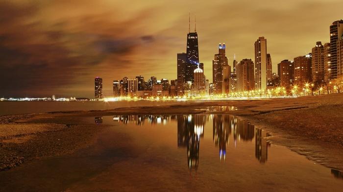 evening, city, sea, lights