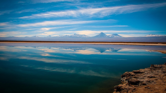 sunset, landscape, mountain, nature, Atacama Desert, reflection, lake, clouds, water, Chile