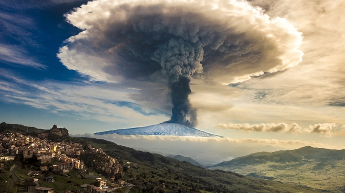mountain, mushroom, clouds, smoke, Etna, snowy peak, nature, Italy, sky, eruption, volcano, town, Sicily
