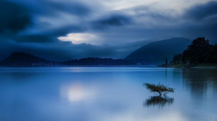 sunrise, nature, trees, city, mountain, calm, water, blue, lake, landscape, clouds, Italy