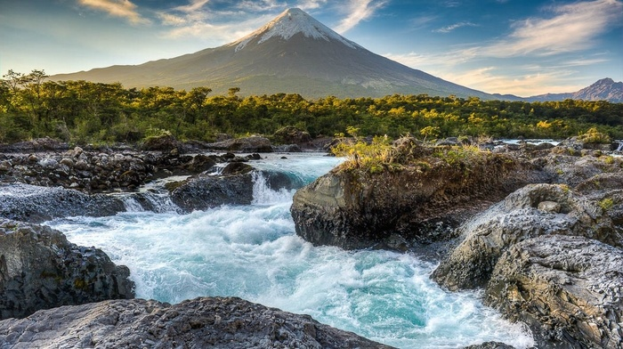 sunset, forest, mountain, river, rock, Chile, snowy peak, shrubs, landscape, nature, volcano