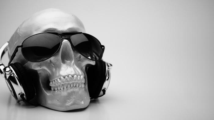 music, skull, headphones, audio, simple background, sunglasses